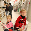 Children in shopingcart and couple - Photo