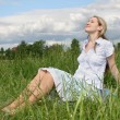 Stock Photo: Pregnant girl on meadow