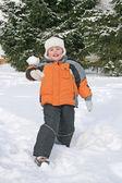 Boy throw snow — Stock Photo