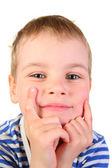 Uśmiechać się chłopak z rąk — Zdjęcie stockowe