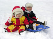 Child and baby. winter — Stock Photo