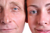 Young woman and her grandfather closeup — Stock Photo
