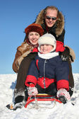 Winter family with sled 2 — Stock Photo