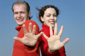 Couple with fingers — Stock Photo