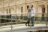 Couple on bridge — Stock Photo
