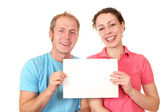 Color couple with card for text — Stock Photo