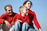 Family with boy faces 2 — Stock Photo