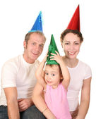 Happy birthday color shirt family with baby — Stock Photo