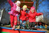 Jumping team in kindergarten — Stock Photo