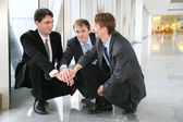Businessteam záhada s rukama — Stock fotografie