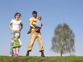 Family of four. spring — Stock Photo