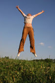 Jump girl on meadow 2 — Stock Photo