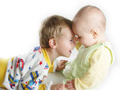 Child with baby on white — Stock Photo