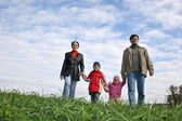 çimenlerin üzerinde dört kişilik aile — Stok fotoğraf
