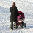 Mother with baby carriage. winter — Stock Photo