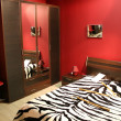 Stripe red bedroom — Stok fotoğraf