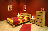 Red modern bedroom — Stock Photo