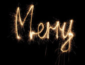 Merry sparkler word — Stock Photo
