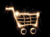 Shopping cart sparkler — Stock Photo
