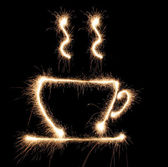 Cup cofee sparkler — Stock Photo