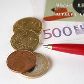 Credit card euro coin — Stock Photo