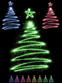 Multicolor sparkler trees — Stock Photo