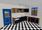 Kitchen render — Stock Photo