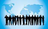 Business crowd blue globe — Stock Photo
