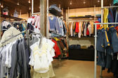 Child clothes in shop — Stock Photo