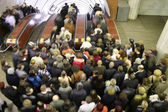 Escalator crowd — Stockfoto