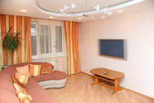 Interior with sofa and tv flat plazma — ストック写真