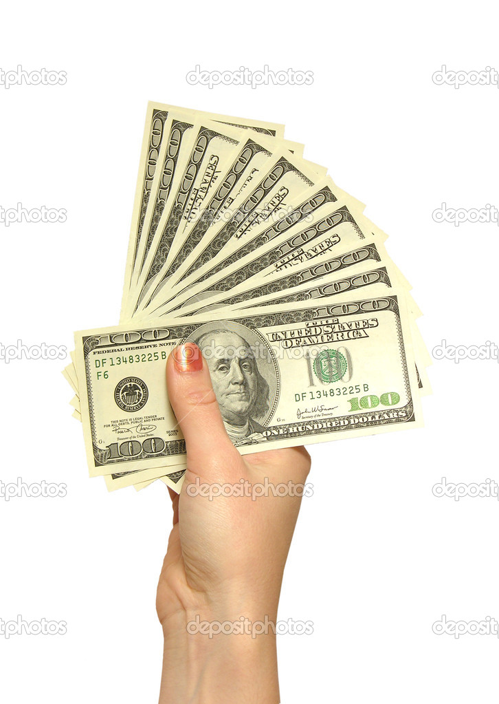 Girl's hand with dollars — Stock Photo #3642154