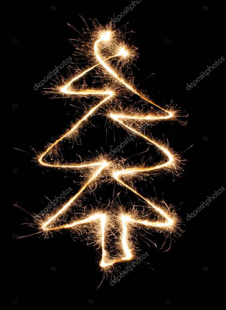 Sparkler christmas tree — Stock Photo #3643104