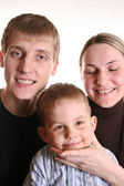 Family with boy try ot make a photo — Stock Photo