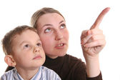 Mother show son by finger — Stock Photo