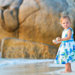 Toddler girl on the beach — Stock Photo