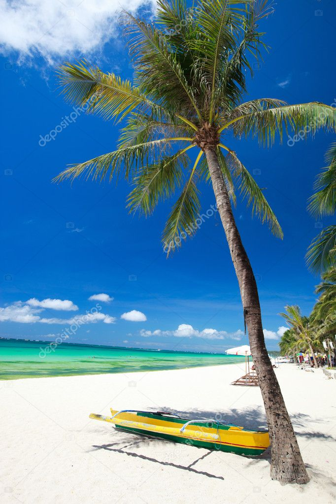 Perfect tropical white sand beach in Boracay, Philippines  Stock Photo #3587112