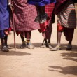 Group of masai participating in traditional dance with high jumps — Stock Photo #3645074