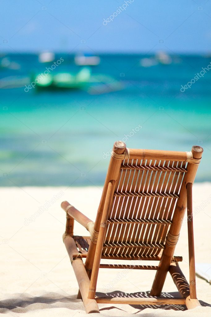 Beach chair on perfect tropical white sand beach in Boracay, Philippines — Stock Photo #3645742