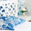 Bedroom interior closeup pillows - Stockfoto