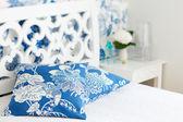 Bedroom interior closeup pillows — Stock Photo