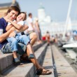 Happy father and son outdoors in city center — Stock Photo