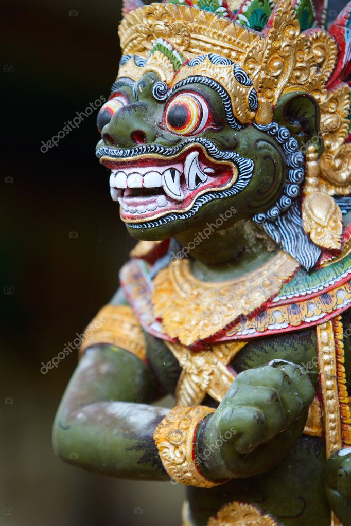 Closeup of traditional Balinese God statue in Central Bali temple — Stock Photo #3696690
