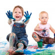 Kids painting - Stock Photo