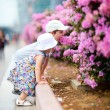 图库照片: Two kids outdoor in city at summer day