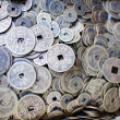 Collection of old Chinese coins - Stock Photo