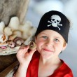 Portrait of playful pirate boy — Stockfoto