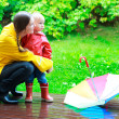 Mother and daughter outdoors at rainy day — Stock Photo #3856647
