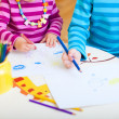 Kids drawing closeup - Stock Photo