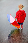 Toddler girl outdoors at rainy day — Photo